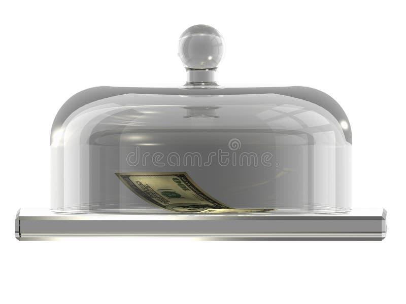 盖子美元玻璃下面 向量例证