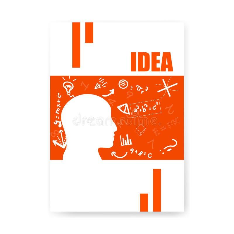 盖子认为平的样式、乱画和剪影手拉的算术象、标志和标志概念背景,传染媒介的笔记本头脑 库存例证