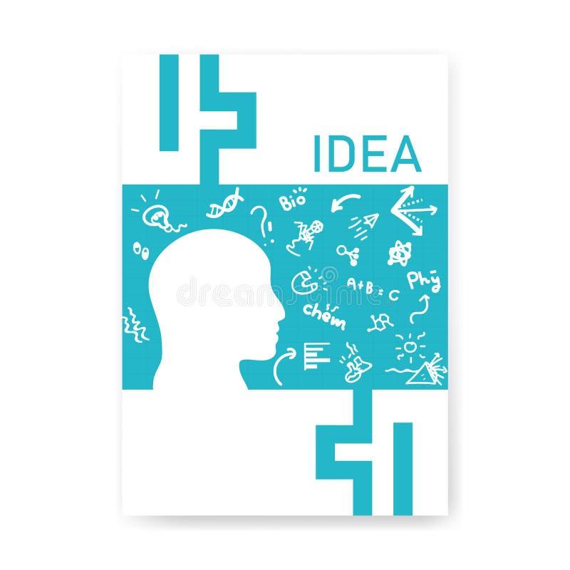 盖子认为平的设计的笔记本头脑,速写手拉的科学象、标志和标志概念背景,传染媒介例证 向量例证