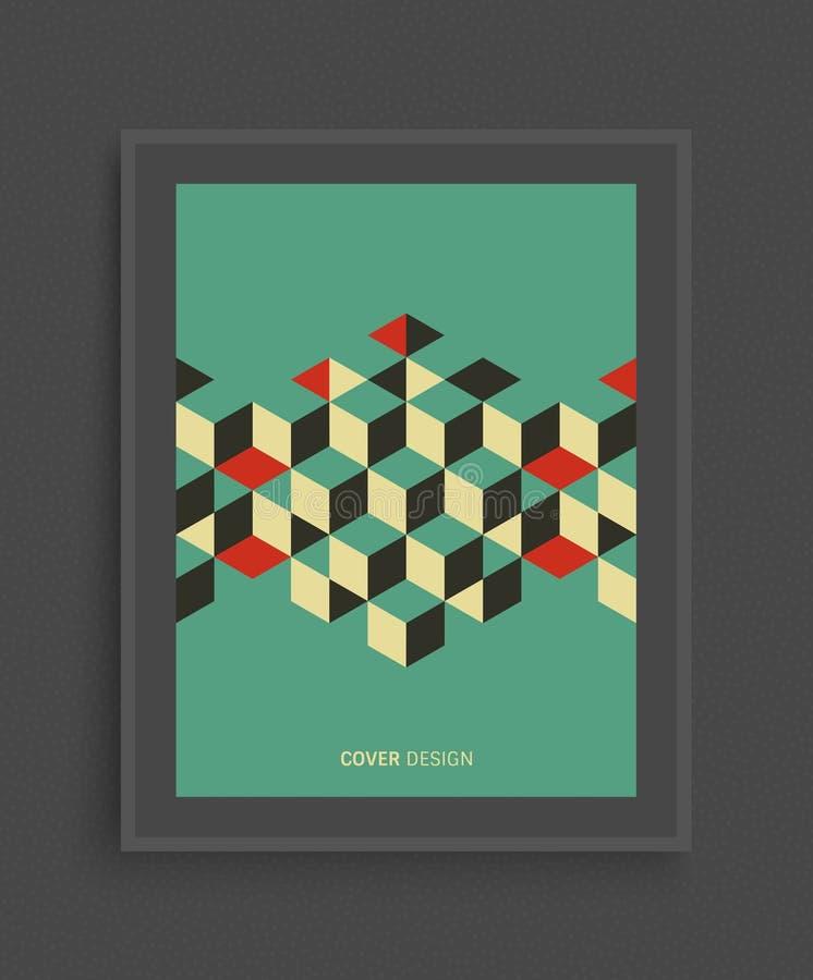 盖子设计模板 与立方体的抽象几何背景 也corel凹道例证向量 能为做广告,营销使用, 向量例证
