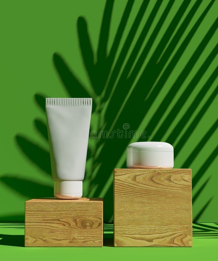 盖子设计A4模板设置了有绿色背景,装饰的eco抽象现代另外颜色样式 皇族释放例证