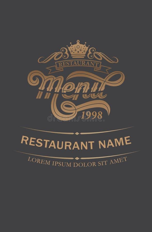 盖子餐馆菜单设计 皇族释放例证