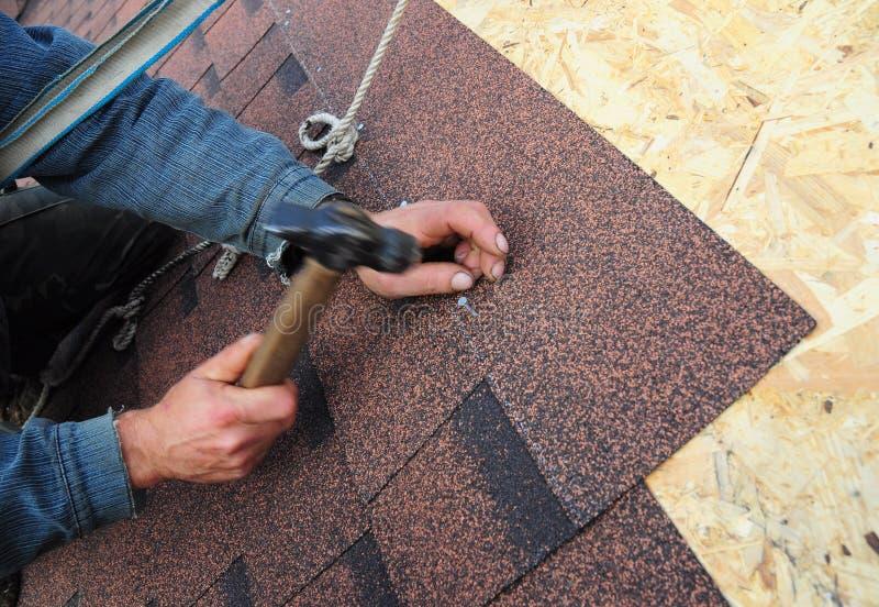 盖屋顶的人安装沥青屋顶木瓦 关闭在盖屋顶的人设施沥青屋面木瓦设施的看法 免版税图库摄影