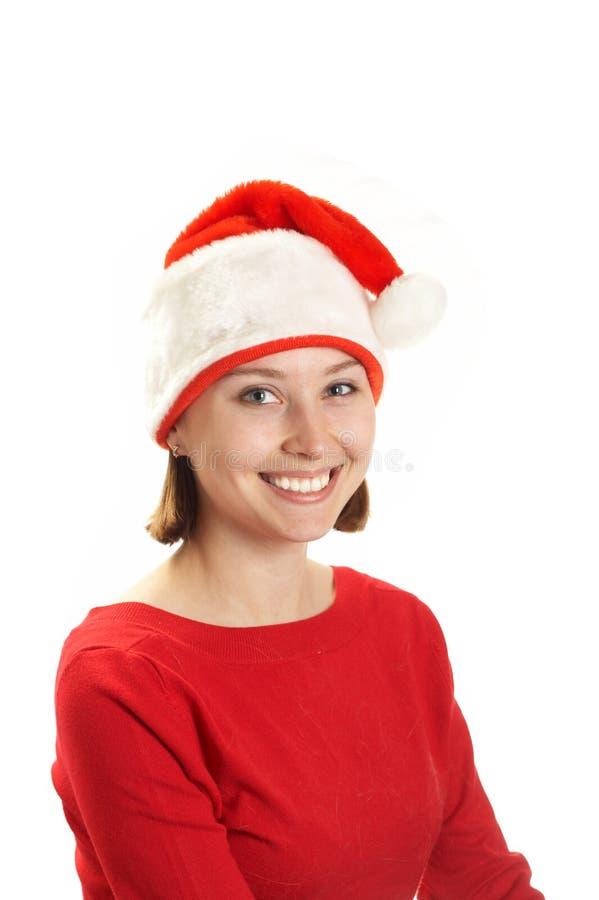 盖帽克劳斯・圣诞老人妇女年轻人 免版税图库摄影