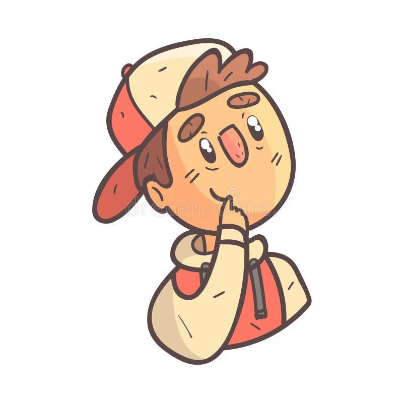 盖帽和学院夹克手拉的Emoji凉快的被概述的画象的梦想的男孩 库存例证