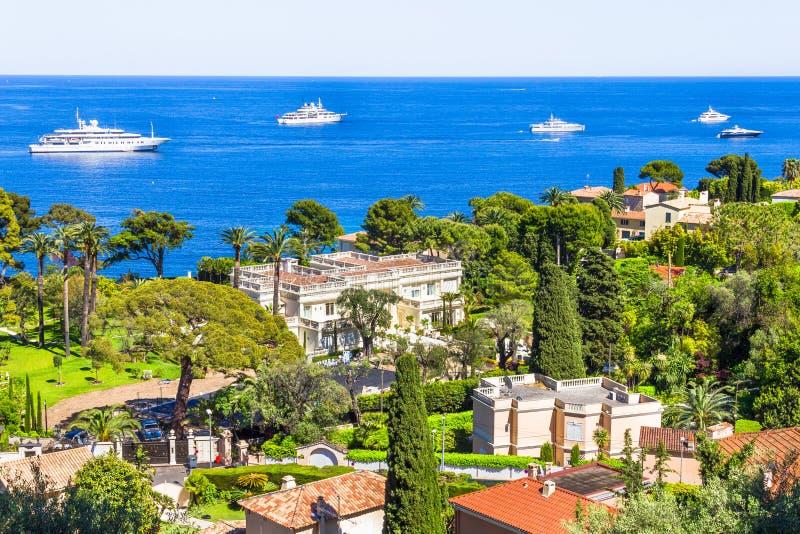 盖帽Ferrat,法国海滨鸟瞰图 免版税图库摄影