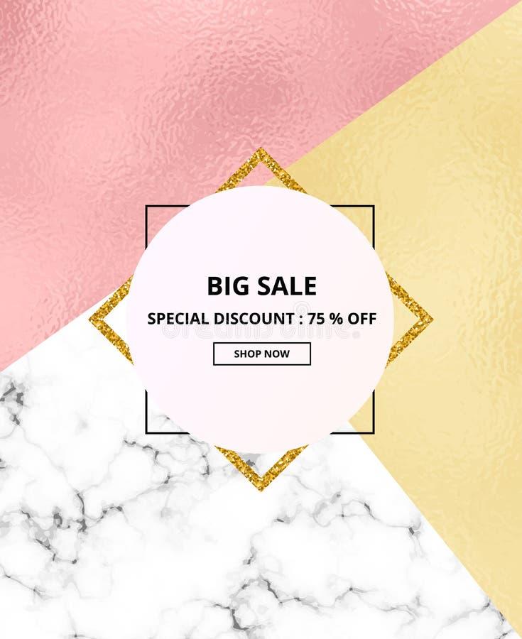 盖招贴销售白色大理石或石纹理和桃红色、金箔纹理和闪烁框架背景 您的desi的模板 皇族释放例证