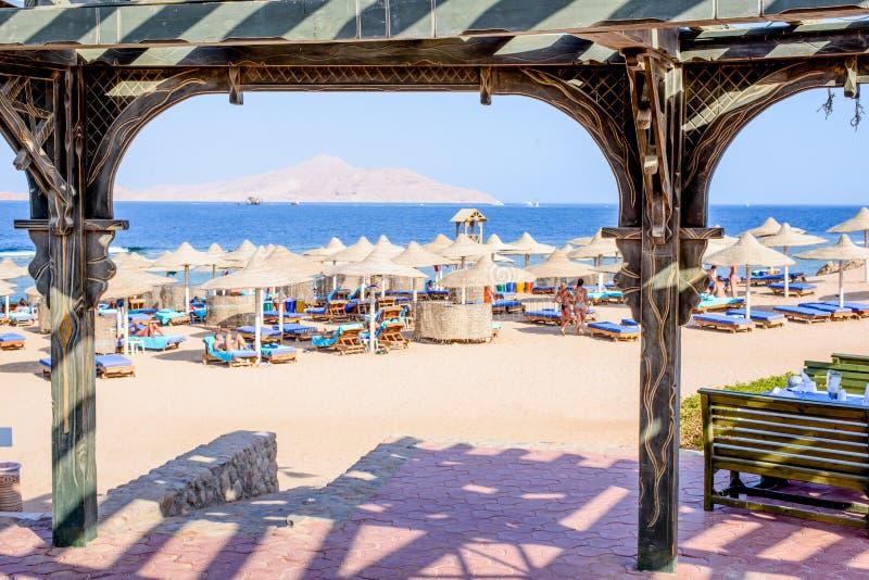 盖的沙滩伞和可躺式椅椅子 免版税库存图片