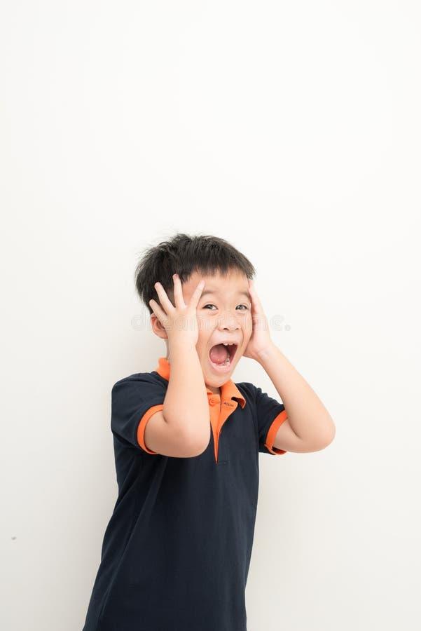 盖耳朵的逗人喜爱的小男孩用手,在白色背景 免版税库存图片