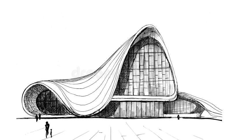 盖达尔・阿利耶夫文化中心挺好的公共建筑在巴库 皇族释放例证