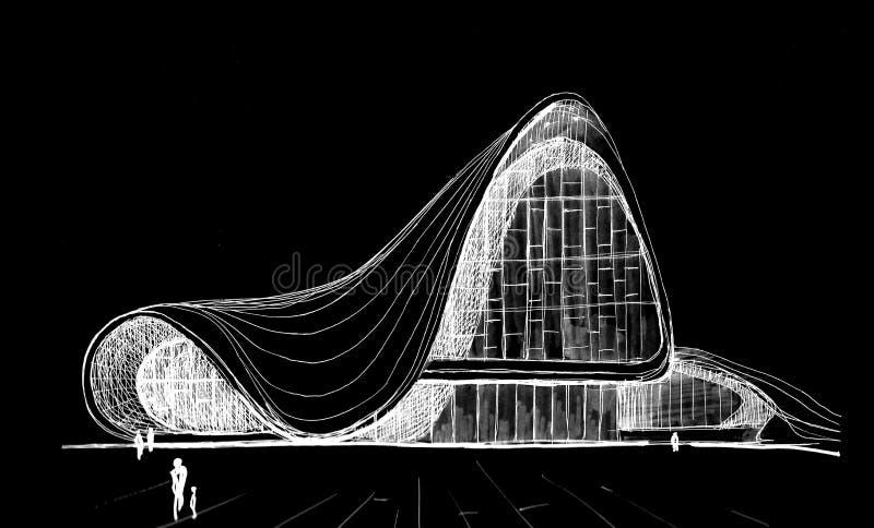 盖达尔・阿利耶夫文化中心挺好的公共建筑在巴库 向量例证