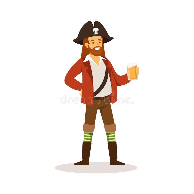 盗版与拿着杯兰姆酒传染媒介例证的木腿的水手字符 库存例证