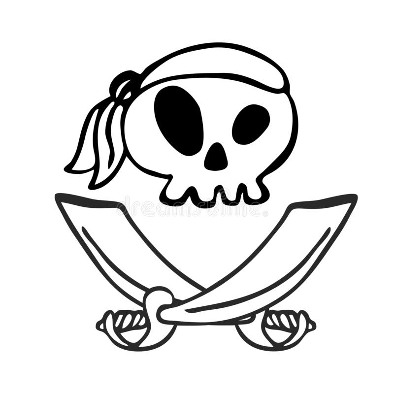盗版头骨、设计元素装饰的儿童` s假日,邀请、贴纸和海报在万圣夜 库存例证