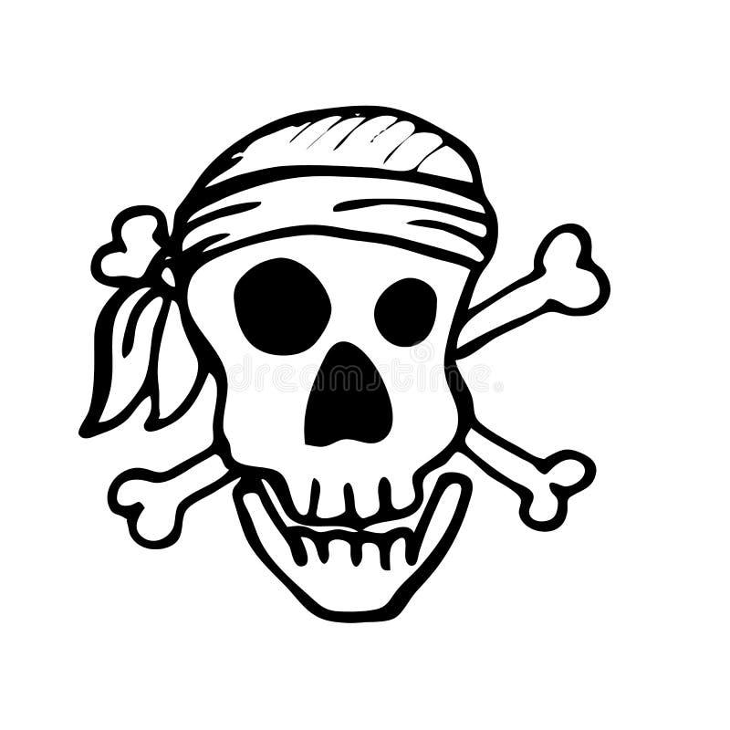 盗版头骨、设计元素装饰的儿童` s假日,邀请、贴纸和海报在万圣夜 向量例证