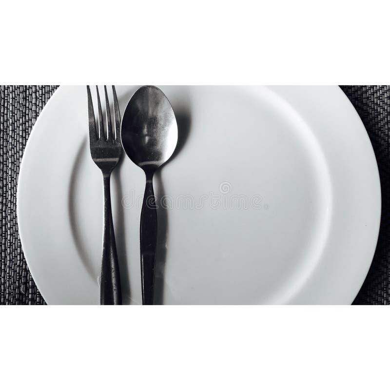 盘匙子叉子 免版税库存照片