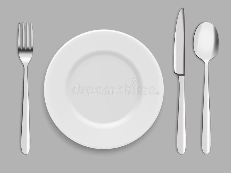 盘和刀叉餐具 叉子、匙子和刀子 向量例证