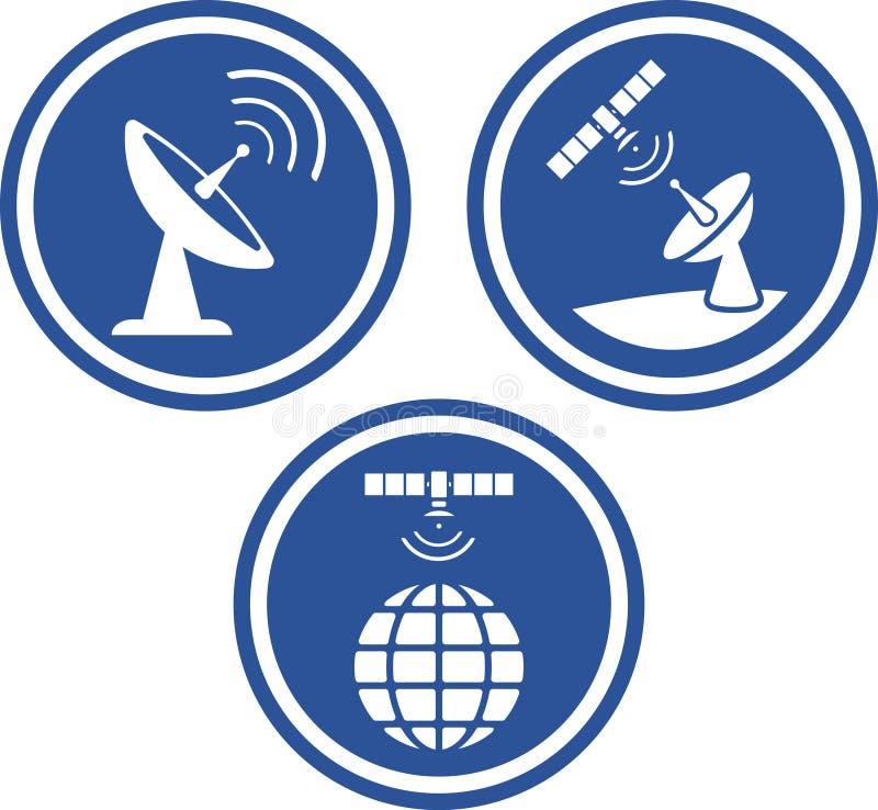盘图标雷达卫星向量 皇族释放例证