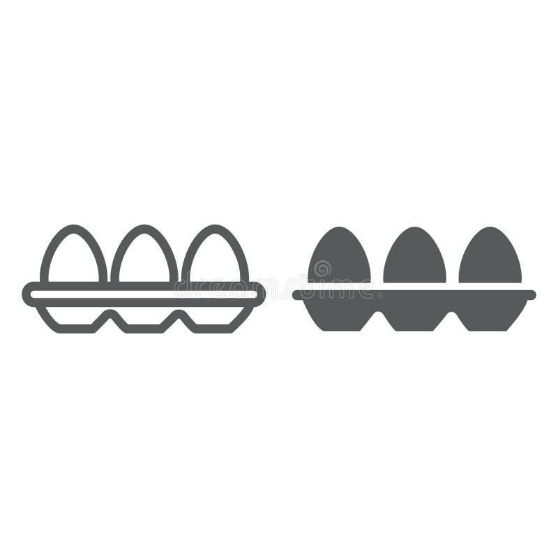盘子用鸡蛋排行和纵的沟纹象、食物和营养,蛋容器标志,向量图形,在a的一个线性样式 库存例证
