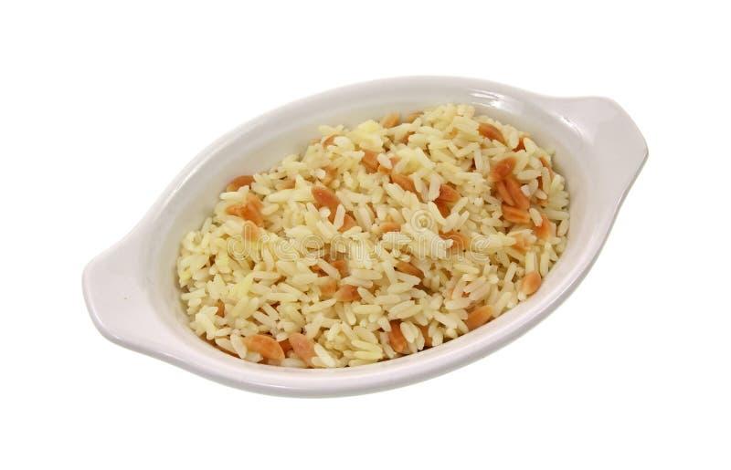 盘小肉饭的米 免版税库存图片