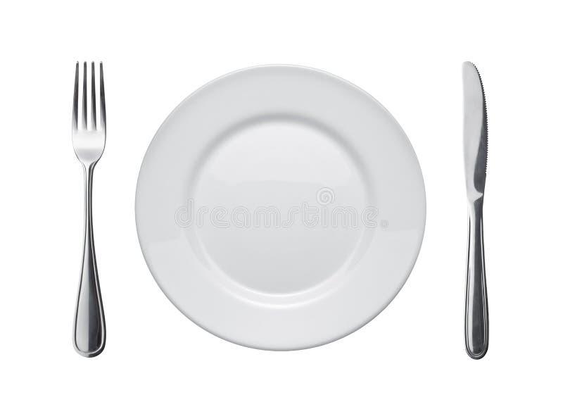 盘扁平的餐具 图库摄影