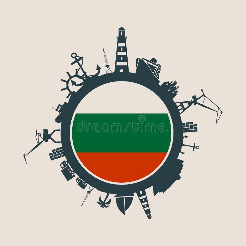 盘旋与货物口岸并且旅行相对剪影 可用的保加利亚标志玻璃样式向量 皇族释放例证
