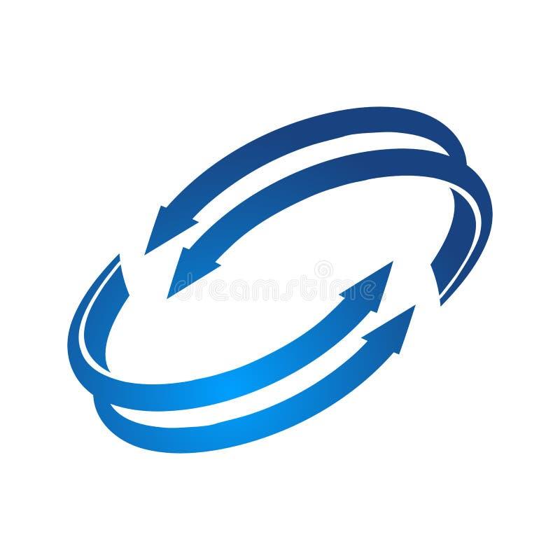 盘旋创新技术箭头蓝色颜色商标模板 库存例证