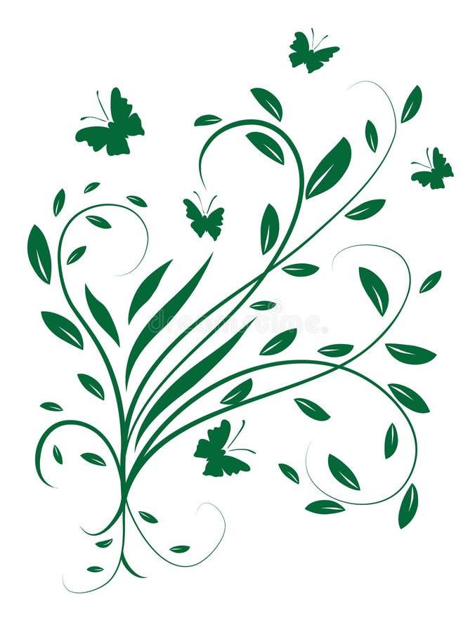 盘旋叶子的蝴蝶 向量例证