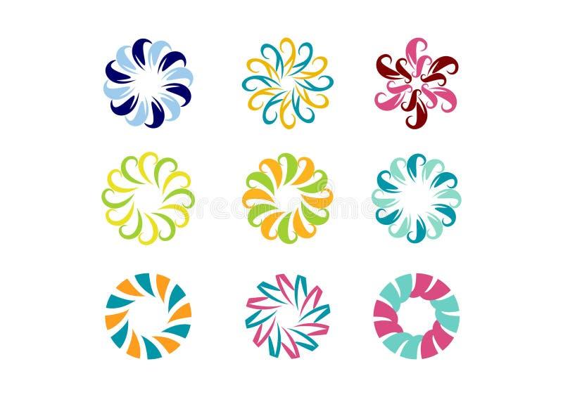 盘旋商标,花卉模板,套圆的抽象无限花纹花样传染媒介设计 向量例证