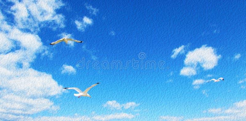 盘旋在与云彩的天空蔚蓝,鸥飞行的海鸥在天堂,风格化绘画 库存照片