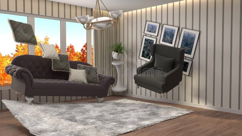 盘旋在客厅的失重家具 3d例证 库存例证
