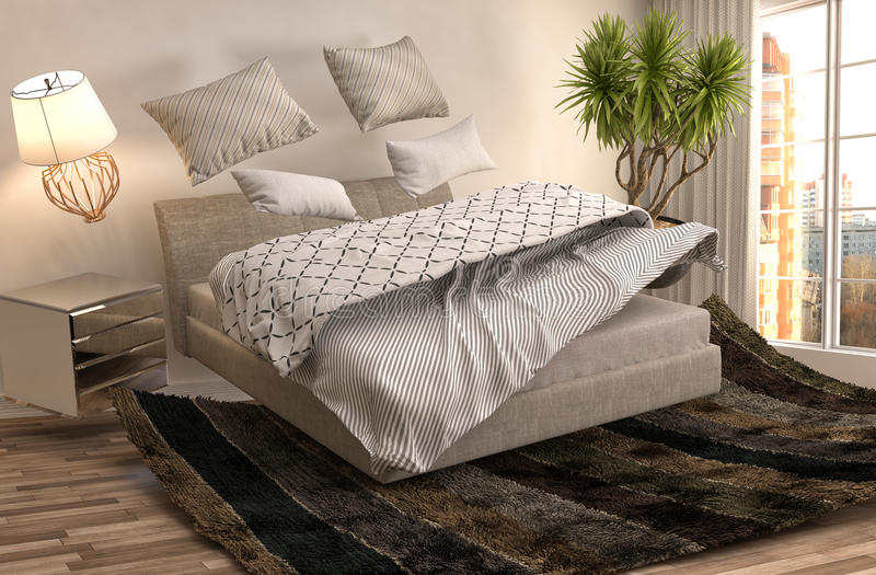 盘旋在客厅的失重床 3d例证 向量例证