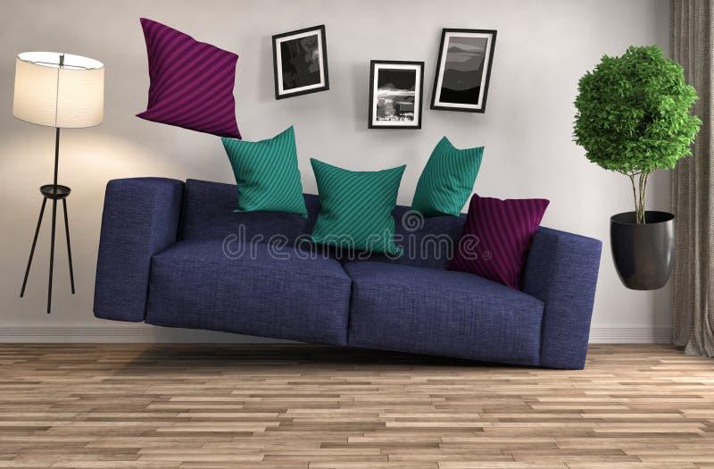 盘旋在客厅的失重沙发 3d例证 皇族释放例证