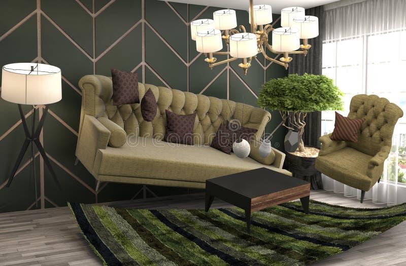 盘旋在客厅的失重沙发 3d例证 库存例证