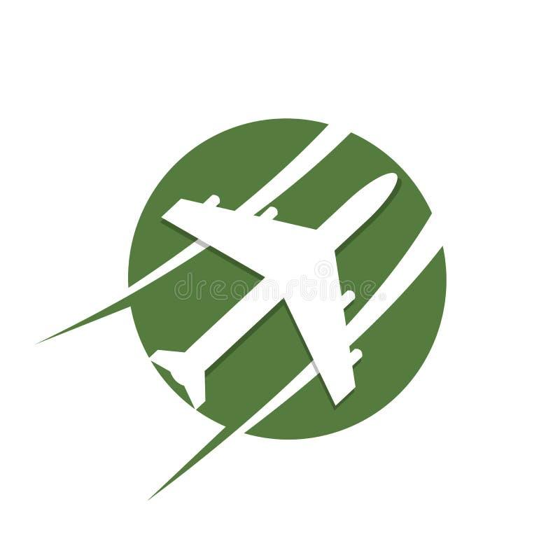 盘旋在绿色的旅行平面商标模板 库存例证