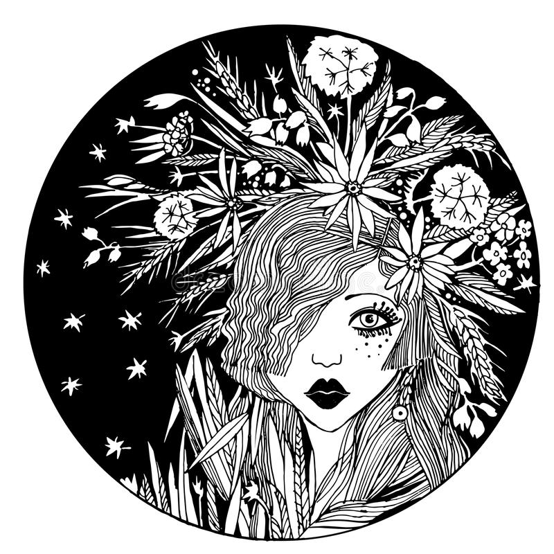 盘旋女孩的构成与在头发的花 皇族释放例证