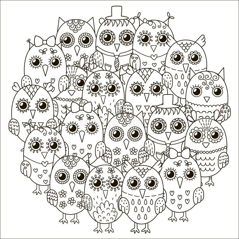 盘旋形状样式与彩图的逗人喜爱的猫头鹰 库存例证