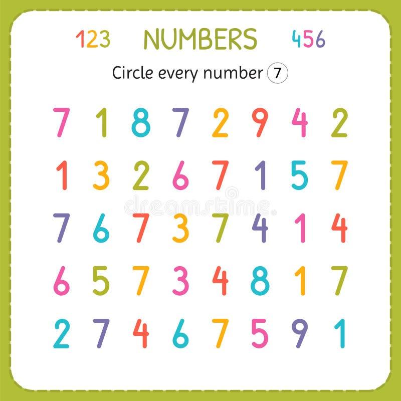 盘旋每第七 孩子的数字 幼儿园和幼儿园的活页练习题 写和计数数字的训练 Exerci 皇族释放例证