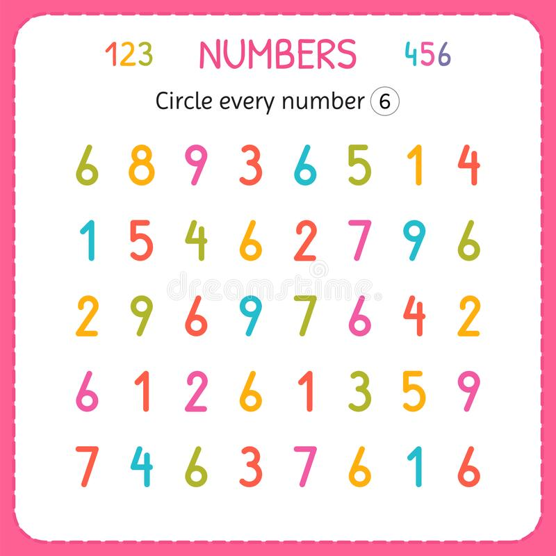 盘旋每第六 孩子的数字 幼儿园和幼儿园的活页练习题 写和计数数字的训练 执行 皇族释放例证
