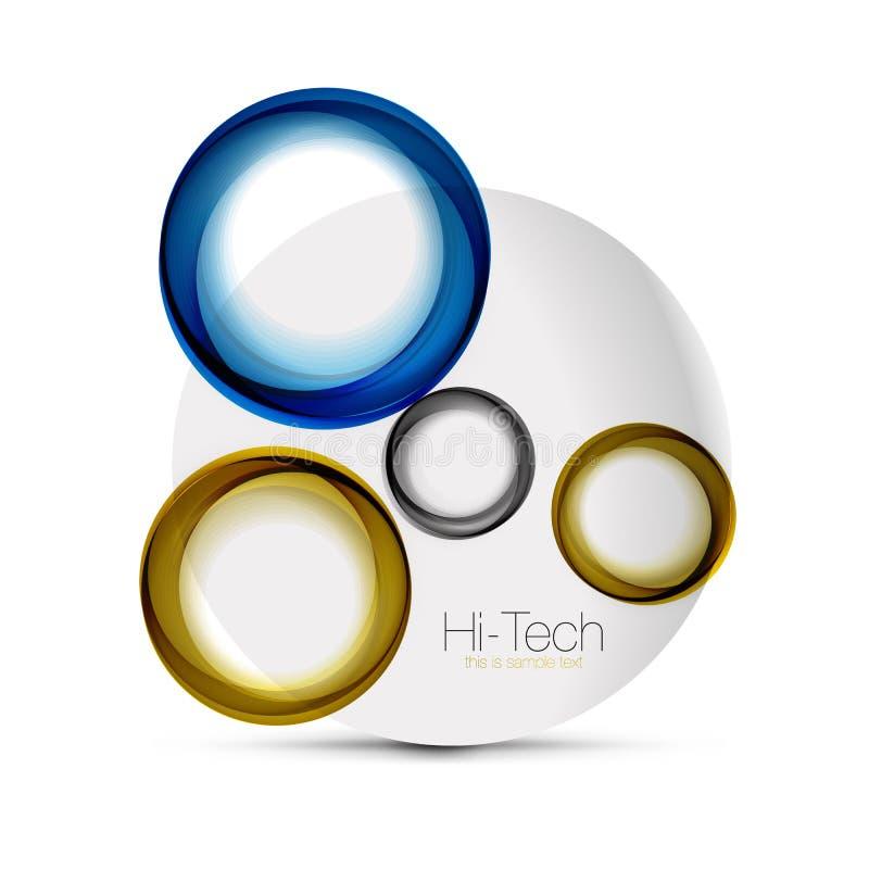 盘旋网布局-数字式techno球形-网横幅、按钮或者象与文本 光滑的漩涡颜色摘要圈子 库存例证