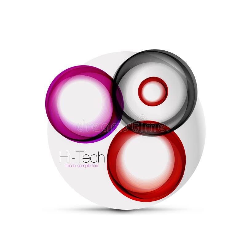 盘旋网布局-数字式techno球形-网横幅、按钮或者象与文本 光滑的漩涡颜色摘要圈子 皇族释放例证