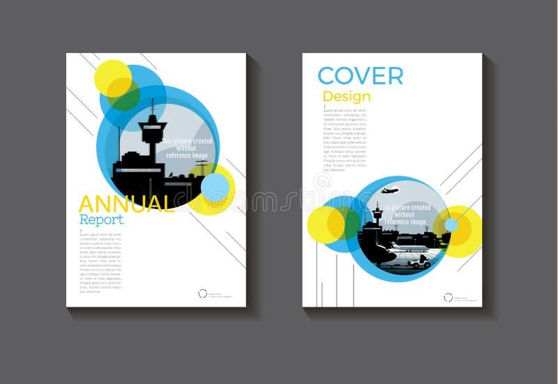 盘旋蓝色和黄色设计书套现代盖子摘要 向量例证