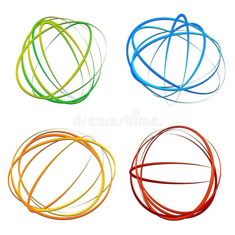 盘旋设计元素与任意长圆形,椭圆形状 皇族释放例证