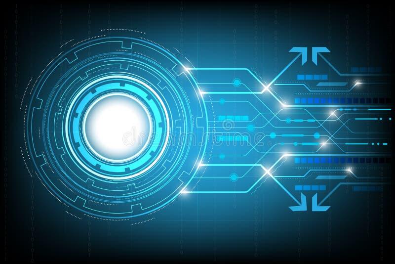 盘旋高科技抽象背景传染媒介,与各种各样的技术元素的数字式事务 库存例证