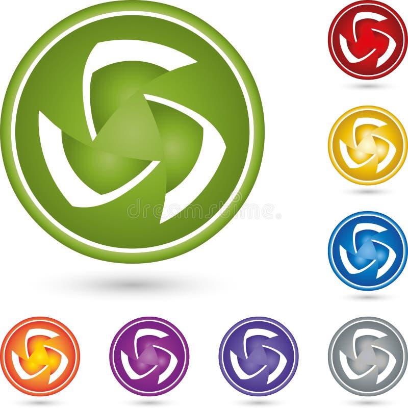 盘旋,在颜色的球形,它服务和多媒体商标 库存例证