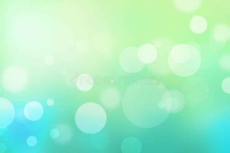 盘旋轻的bokeh绿浪蓝色抽象背景 库存例证