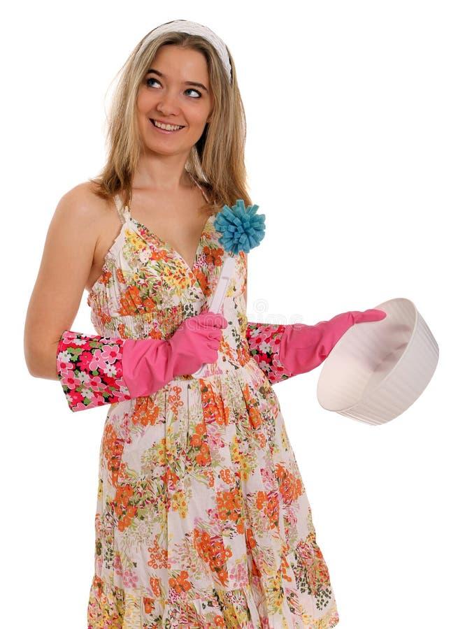 Download 盘洗涤 库存图片. 图片 包括有 微笑, 粉红色, 满足, 女性, 有吸引力的, 相当, 干净, 橡胶, 快乐 - 22354321