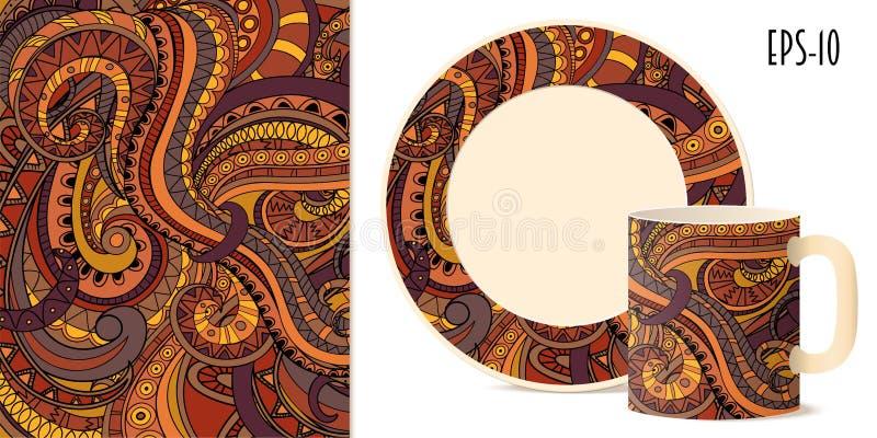 盘的五颜六色的阿兹台克样式 皇族释放例证