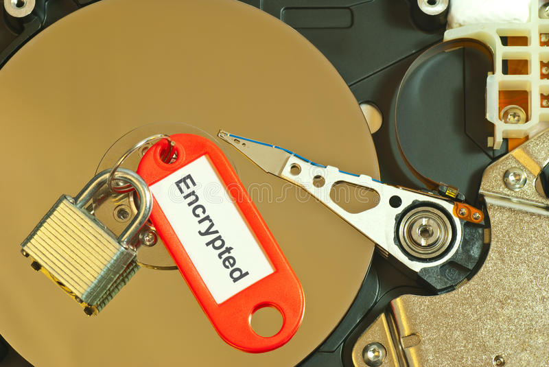 盘被加密的坚硬 免版税库存图片