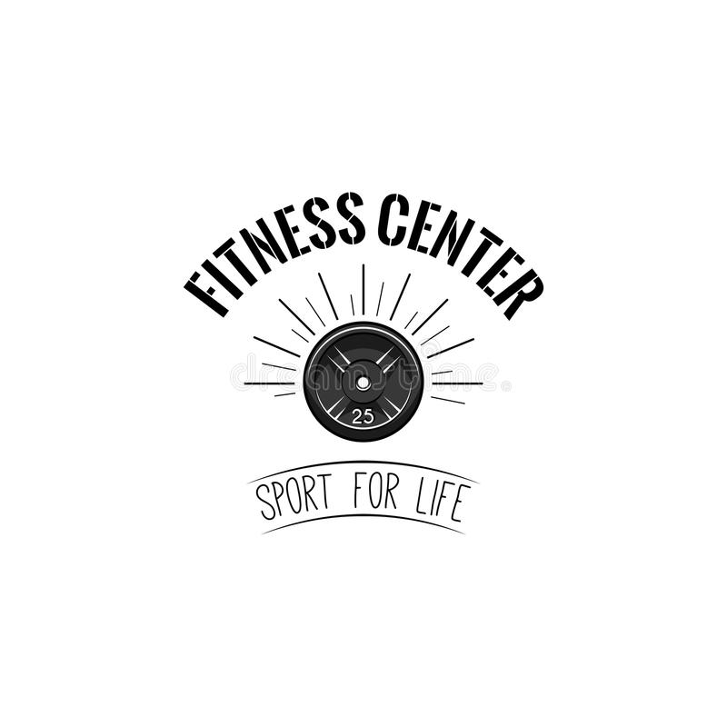 盘重量杠铃 健身中心商标标签 运动器材 生活字法的体育 向量 皇族释放例证