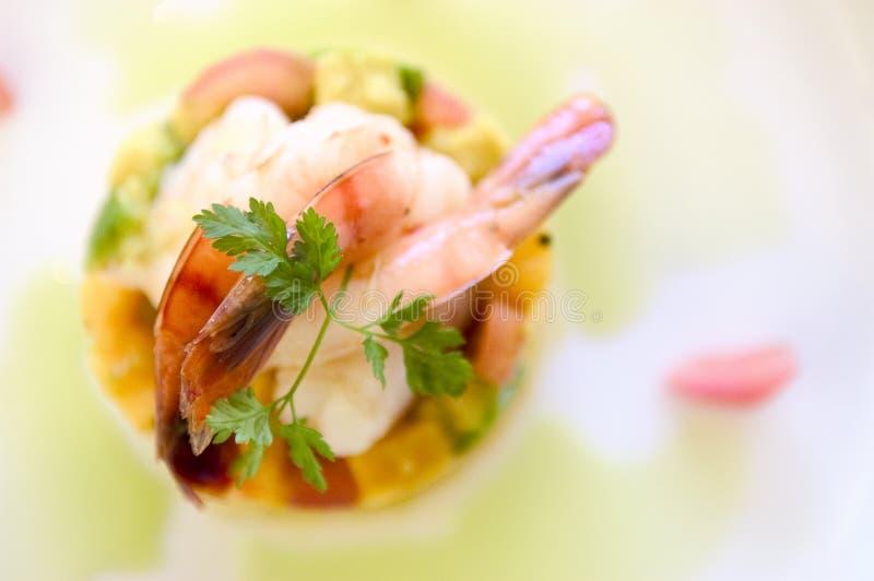 盘食物大虾 库存图片